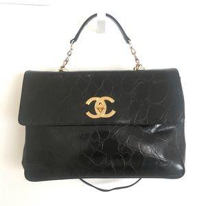 Handbags - LARGE LAPTOP BAG BRIEFCASE FAUX BLACK LEATHER